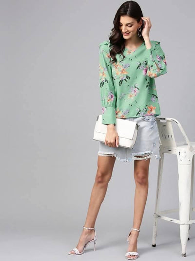 Women's Green Floral Print Top With Shoulder Ruffles - MANERAA