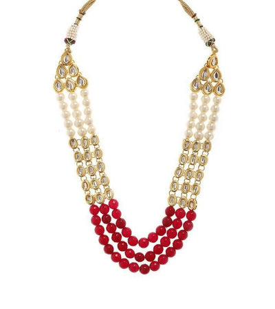 Kundan Necklace And Earring Set Artificial Fashion Jewellery For Women Maroon Color - MANERAA