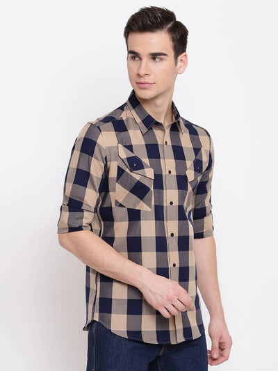 Check Republic Beige And Navy Checkered Casual Cotton Shirt - MANERAA