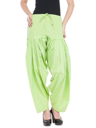 Parrot Green Cotton Solid Patiala - MANERAA