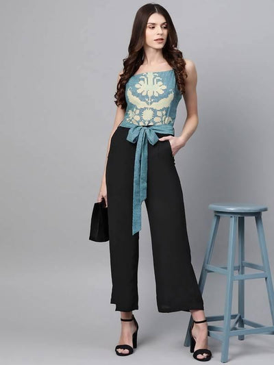 Women's Printed Yoke Jumpsuit - MANERAA