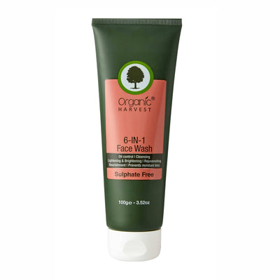 Organic Harvest Face Wash - 6 in 1 (Sulphate Free), 100g - MANERAA