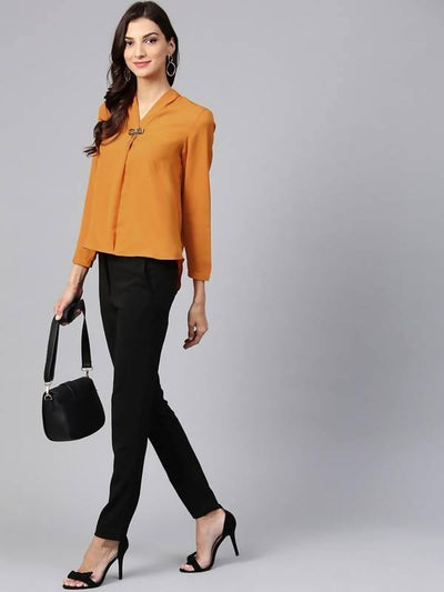 Women's Solid Top With Front Brotch - MANERAA