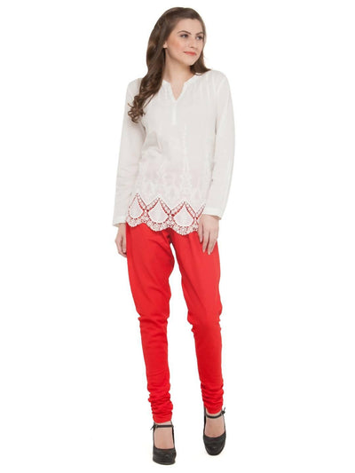 Women Cotton Red Churidar - MANERAA