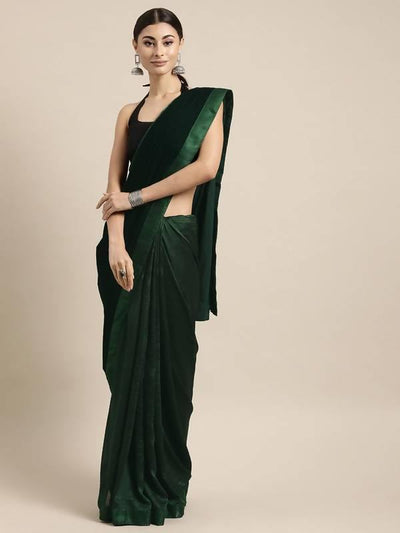 Dark Green Velvet & Poly Crepe Half Half Solid Saree - MANERAA