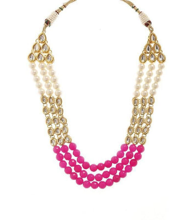 Kundan Necklace And Earring Set Artificial Fashion Jewellery For Women Pink Color - MANERAA
