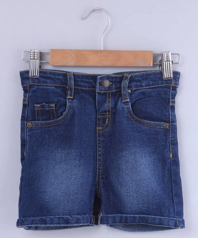 Beebay Dark Wash Turn-Up Denim Shorts - MANERAA