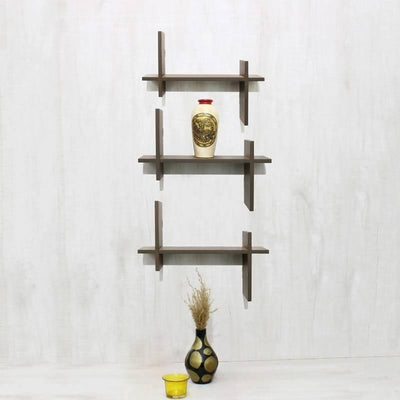 Ladder set of 6 plates Wood Wall Shelves (Coffee Brown) - MANERAA