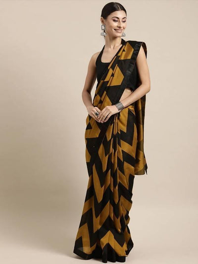 Mustard & Black Color Poly Crepe Leheriya Saree - MANERAA