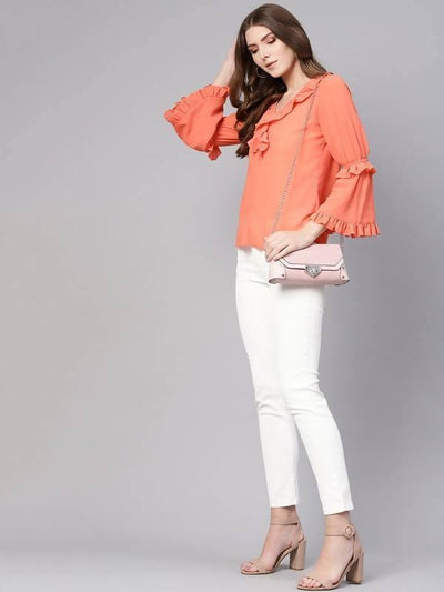 Women's Solid Linear Frill Top - MANERAA