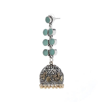 Alloy And Artificial Stones Jhumkas Artificial Fashion Jewellery For Women Blue Color - MANERAA