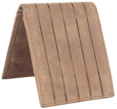 Men Brown Genuine Leather RFID Wallet 8 Card Slot 2 Note Compartment - MANERAA