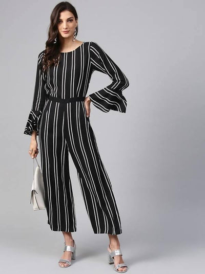Women's Vertical Stripes Monocromatic Jumpsuit - MANERAA