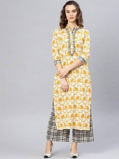 Women's Embroidered Printed Kurta With Pants - MANERAA