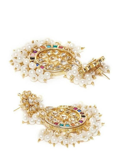 Kundan Drop Earrings Artificial Fashion Jewellery For Women Multi Color - MANERAA