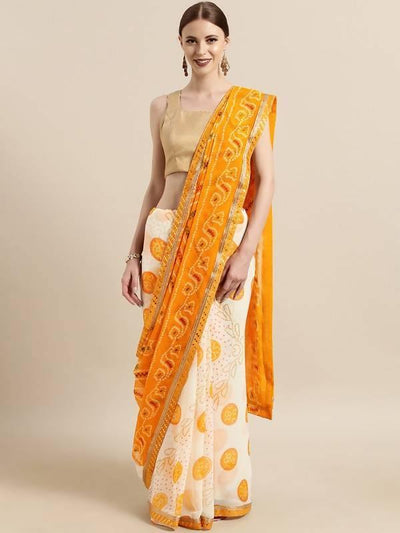 Off White & Yellow Poly Georgette Bandhani Design Saree with printed lace - MANERAA