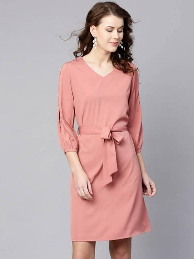Women's Pearl Slit Sleeves A-Line Dress - MANERAA