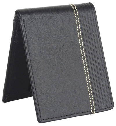 Men Black Pure Leather RFID Wallet 3 Card Slot 2 Note Compartment - MANERAA