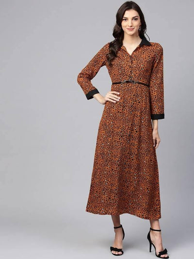 Women's Brown Animal Print Shirt Maxi Dress With Belt - MANERAA