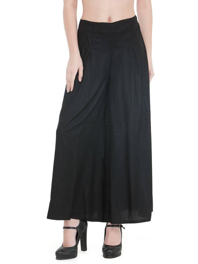Women Solid Black Rayon Flared Palazzo - MANERAA