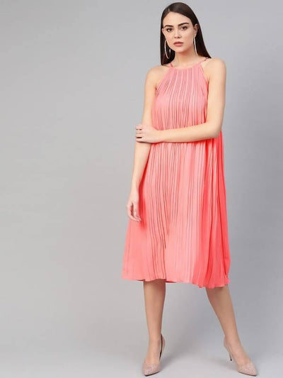 Women's Raglan Pleated Dress - MANERAA