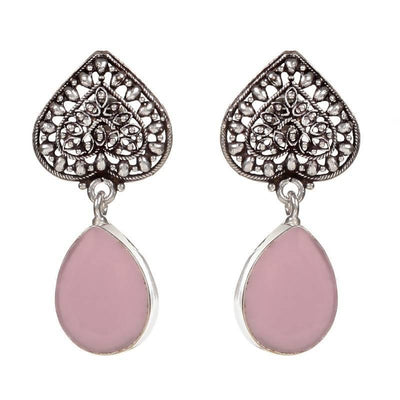 Alloy And Artificial Stones Drop Earrings Artificial Fashion Jewellery For Women Pink Color - MANERAA