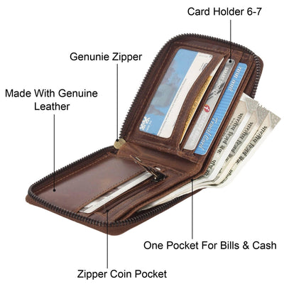 Men Brown Original Leather RFID Wallet 4 Card Slot 2 Note Compartment - MANERAA