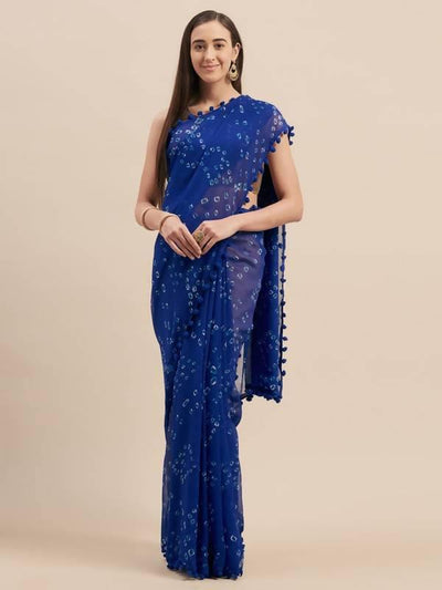 Blue Poly Georgette Bandhani Design Saree With Pom Pom Lace - MANERAA
