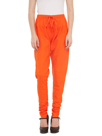 Women Cotton Orange Churidar - MANERAA