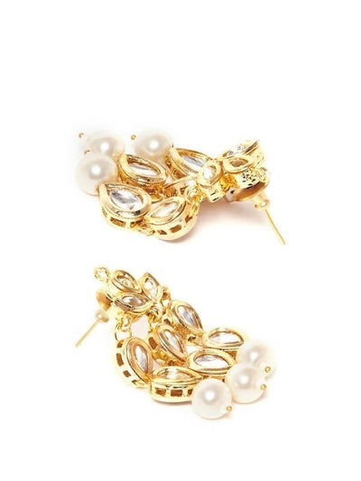 Kundan Drop Earrings Artificial Fashion Jewellery For Women Gold Color - MANERAA