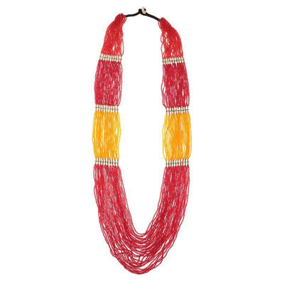 Beads Necklace Artificial Fashion Jewellery For Women Red, Yellow Color - MANERAA