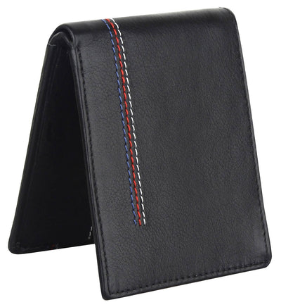 Men Black Original Leather RFID Wallet 6 Card Slot 2 Note Compartment - MANERAA
