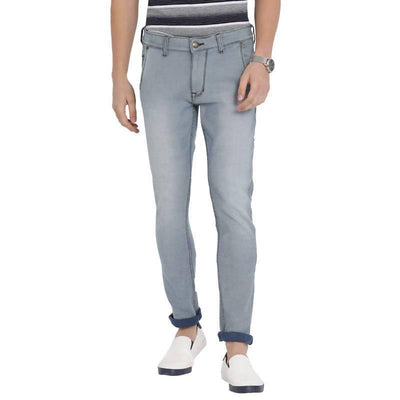 Blue Colour Slim Fit Mid Rise Streatch Jeans - MANERAA