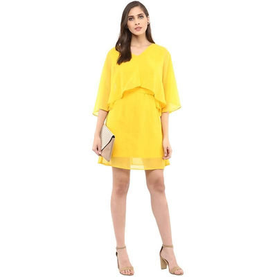 Women's Women's Solid Cape Design Dress - MANERAA
