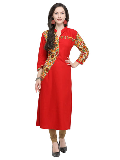 Red Rayon Printed Kurti - MANERAA
