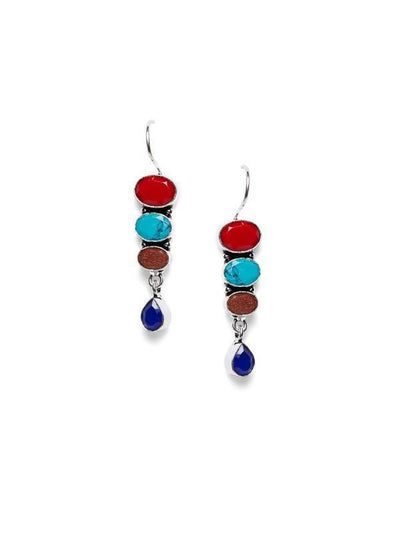 Alloy And Artificial Stones Drop Earrings Artificial Fashion Jewellery For Women Multi Color - MANERAA