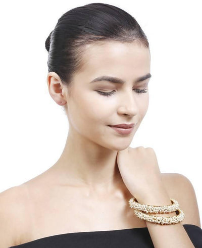 Kundan Bangle Artificial Fashion Jewellery For Women Gold Color - MANERAA