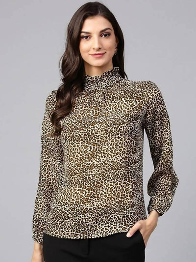 Women's Brown Animal Print Ruffle Neck Top - MANERAA