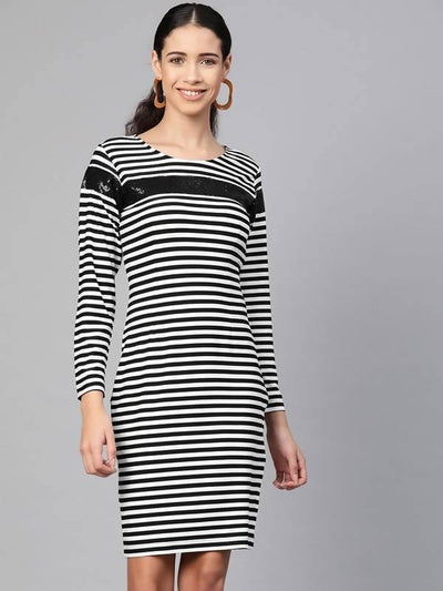 Women's Stripe Dress With Sequin Patch - MANERAA