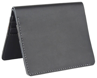 Men Black Genuine Leather RFID Wallet 6 Card Slot 1 Note Compartment - MANERAA