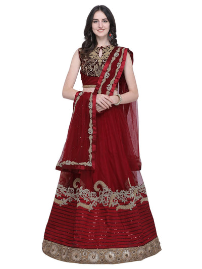 Maroon Net Embroidered Lehenga Choli - MANERAA