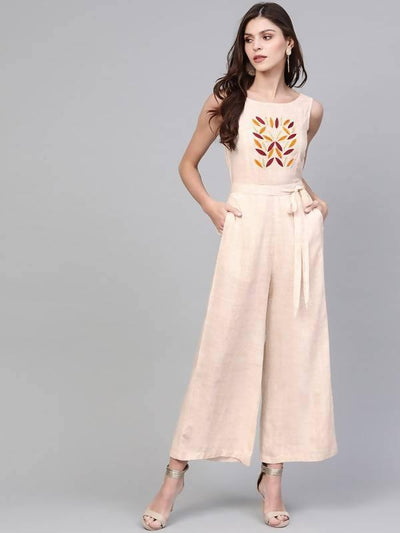 Women's Allover Printed Jumpsuit With Embroidery - MANERAA
