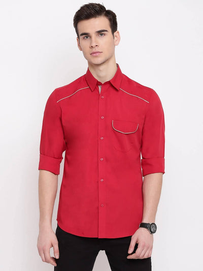 The Rad Red Casual Cotton Shirt (Size:38) - MANERAA