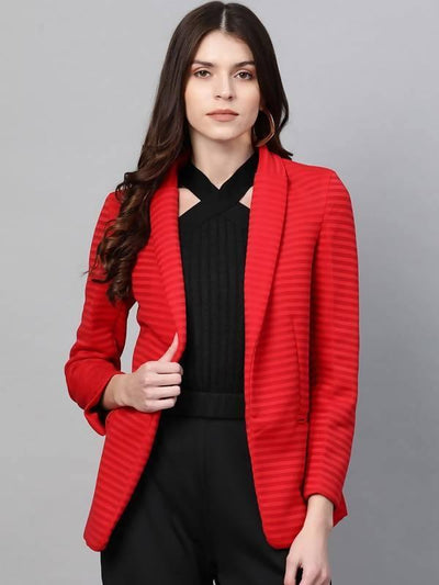 Women's Self Striped Blazer - MANERAA