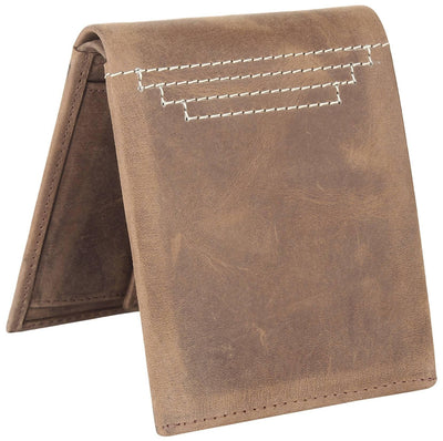 Men Brown Original Leather RFID Wallet 5 Card Slot 2 Note Compartment - MANERAA