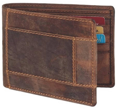 Men Brown Original Leather RFID Wallet 8 Card Slot 2 Note Compartment - MANERAA
