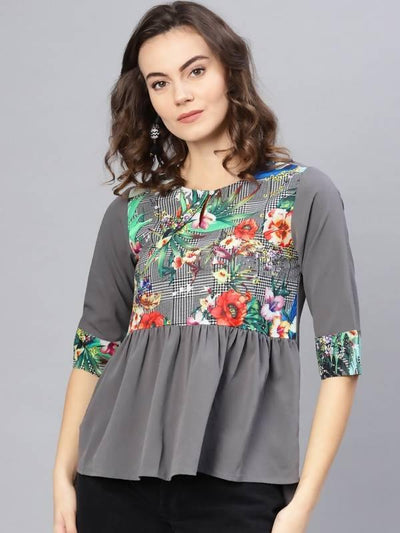 Women's Yoke Printed Top - MANERAA