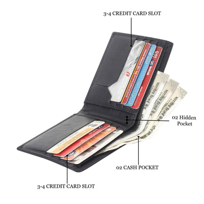 Men Black Pure Leather RFID Wallet 8 Card Slot 2 Note Compartment - MANERAA