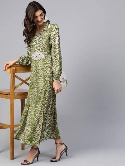Women's Light Green Animal Print Maxi Dress With Embellished Brotch - MANERAA