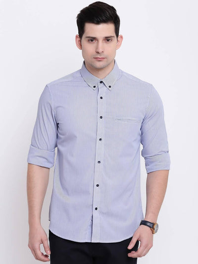 Trim Striae Blue Stripes Casual Cotton Shirt (Size:38) - MANERAA